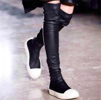 Free Shipping 2017 New Arrivals Name Brand Design Women Fashion Over the Knee Boots Flat Slim Elastic Slip On Black Long Boots
