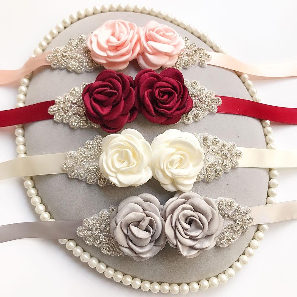 Flower Belts Women Girl Rose Bridal Bride Wedding Sash Floral Seal Belt Sweety Ribbon Band Belts Elegant Prom Dress Accessories