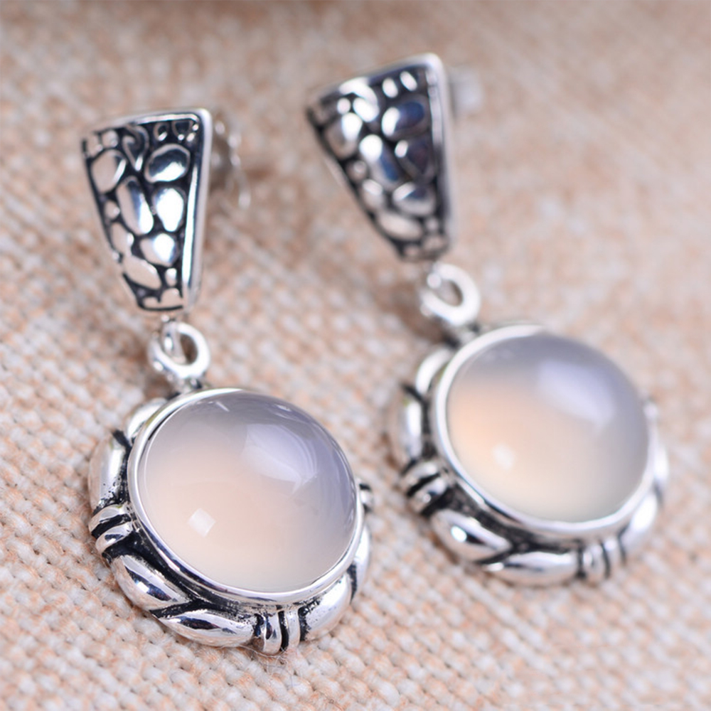 MetJakt Natural White Chalcedony Agate Earrings Solid 925 Sterling Silver Drop Earring for Women's Vintage Thai Silver Jewelry цена и фото