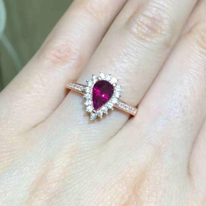 Anillos Qi Xuan_Fashion Jewelry_Tourmaline Stone Elegant Woman Rings_Rose Gold Color Fashion Rings_Manufacturer Directly Sales