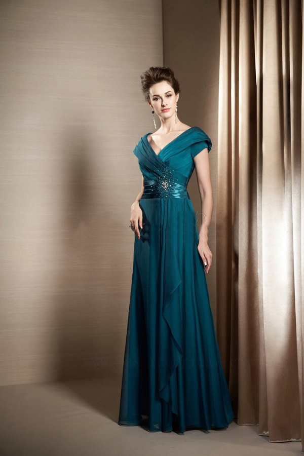 Gorgeous Vestidos De Festa Free Shipping Robe De Soiree 2016 New Fashion Short Sleeve Party Long Mother Of The Bride Dresses