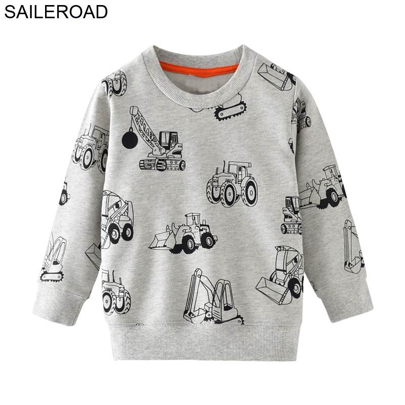SAILEROAD 2pcs Sweatshirt for Kids Cartoon Vehicle Car Warm Sweatshirt for Children Long Sleeve T Shirts Autumn Boys Clothes 4Yr 2