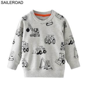 Image 2 - SAILEROAD 2 adet Kazak Çocuklar için Karikatür Araç Araba Sıcak Kazak Çocuklar için Uzun Kollu T Shirt Sonbahar Erkek Giysileri 4Yr