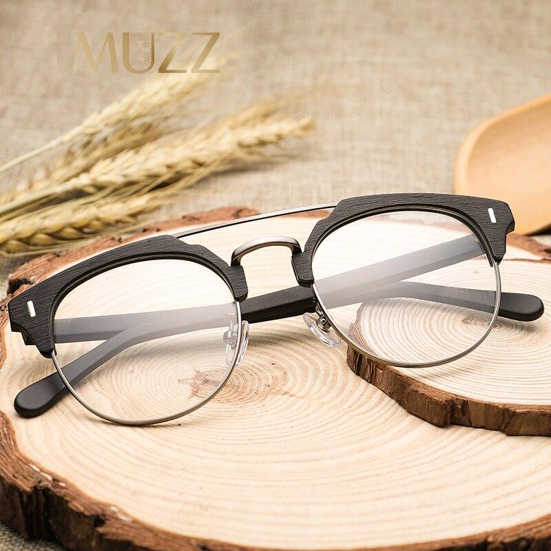 MUZZ 2018 marca lente transparente gafas acetato hombres gafas medio ...