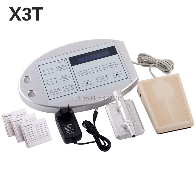 New Style X3T Top Quality Professional Tattoo & Permanent Makeup Machine Kit Rotary Tattoo Gun Pedal Power Supply