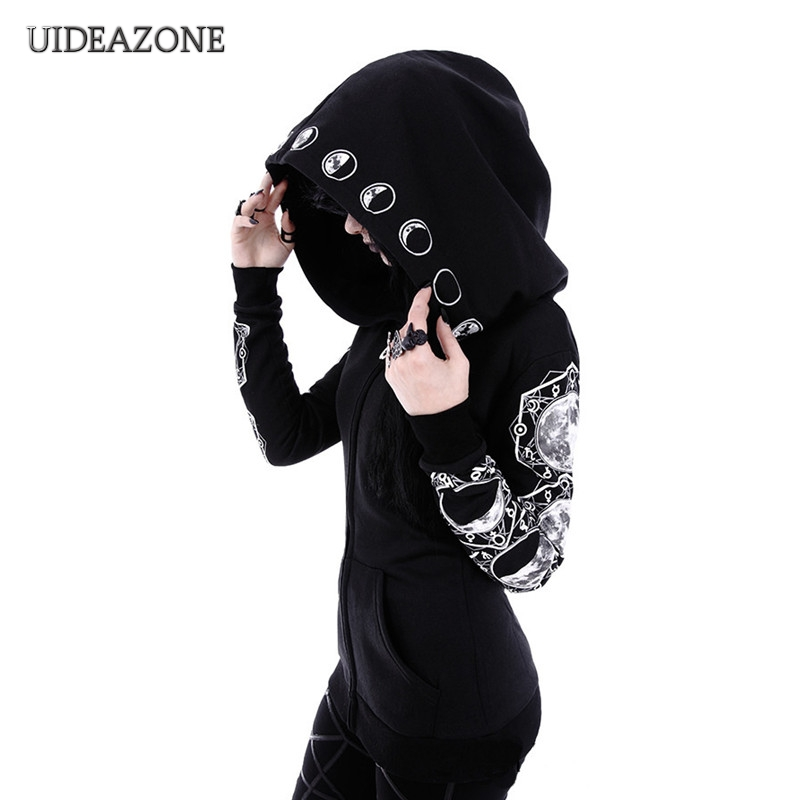 GothicBlack Punk Women HoodiesMoon Print Long Sleeve Jacket Zipper Coat Casual Hooded Goth HoodyLadies Sweatshirts Plus Size