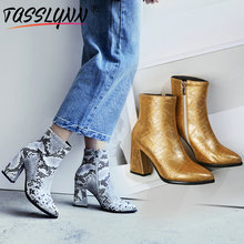 TASSLYNN 2019 Women Shoes Sexy Pointed Toe Animal Prints Ankle Boots Hoof Heels Chelsea Boots Winter Boots Women Size 34-43 tasslynn 2018 women boots black ankle boots hoof high heels zipper spring autumn shoes fashion faux fur ladies boots size 34 40