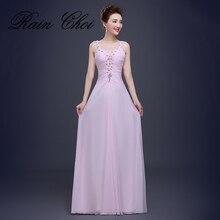 Pink Long Evening Dress Beads Crystal Chiffon Prom Dress Party Gown For Women vestido de festa