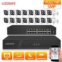 LOOSAFE Outdoor video überwachung Sicherheit Kamera Kit System HD CCTV DVR 16PCS 5,0 MP IR POE Überwachung Kameras