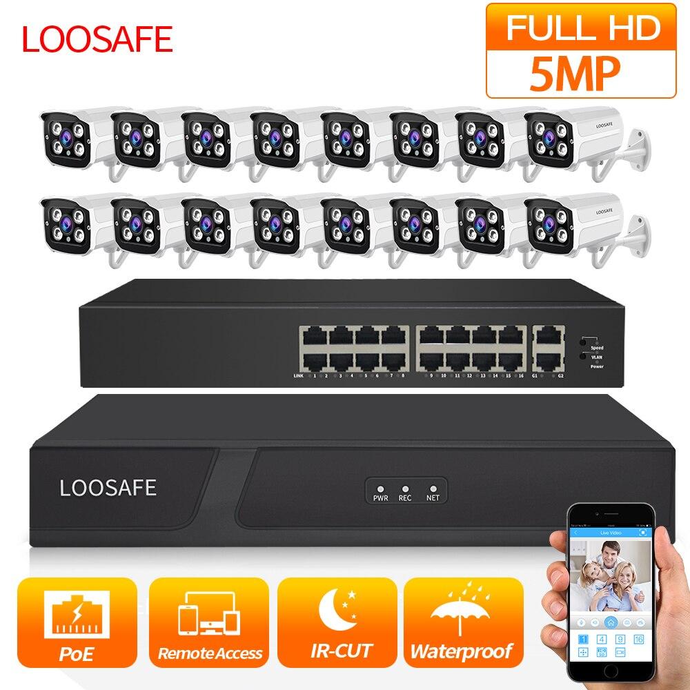 LOOSAFE wideo na zewnątrz kamera ochrony nadzoru zestaw System HD CCTV DVR 16 sztuk 5.0 MP IR POE kamery monitorujące