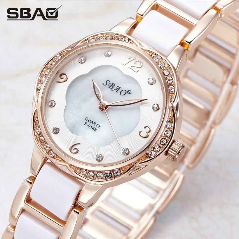 SBAO marca moda mujer reloj de cuarzo pulsera de cerámica casual - Relojes para mujeres