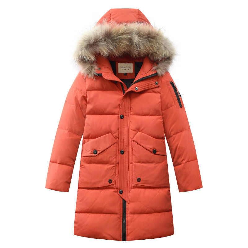 Одежда для мальчиков от -30 градусов теплая куртка-пуховик для мальчиков 2019 г. Зимняя утепленная парка детская верхняя одежда с капюшоном из натурального меха, пальто