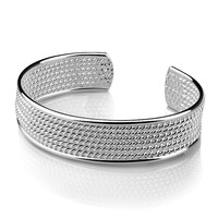 New Design Fashion Women Sterling Silver Bracelet Personalities Mesh Wide Bracelet Solid 925 Silver Bracelet Lady