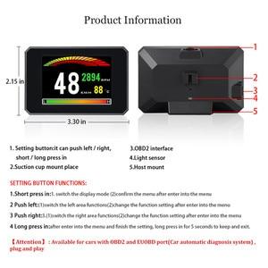 Image 4 - GEYIREN P16 head up display hud obd2 temperatur auto KM/h MPH Turbo Boost Druck geschwindigkeit projektor auf die windschutzscheibe für auto HUD