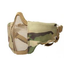 Tactical Airsoft Mask Half Lower Face Metal Steel Net The Field Outdoor Steel Tactical Mask tactical half face metal steel net mesh mask hunting protective guard mask airsoft ear protection half face mask