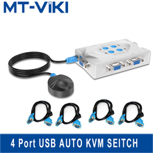 MT-Viki smart kvm Switch vga Selector 4 Port Hotkey Wired Remote Controller Select Auto Scan 1920x1440 send Cables   MT-401KL цена 2017