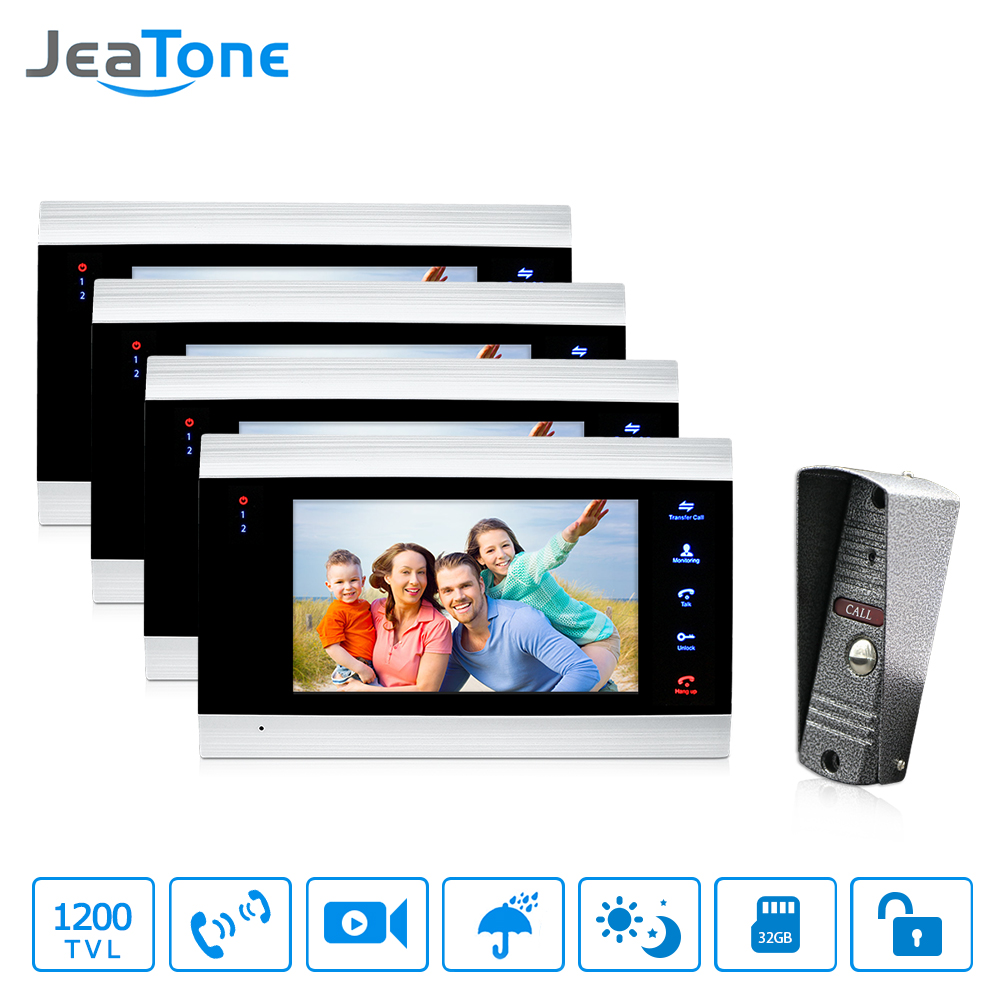 1 To 4 Video Door Phone Intercom System 7 Monitor Doorbell Intercom Phone Intercom Waterproof Security
