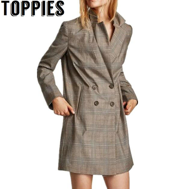2017 Women Autumn and Winter Fashion Long Sleeves Plaid Blazers Double Breasted Retro Checker Long Blazer Coat