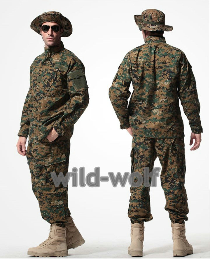 Army Military Jacket Military Field Camouflage Camo  Combat Airsoft Uniform Suit Sets Woodland Digital Camouflage