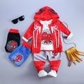 Человек-паук Осень Зима 3 Шт. boy одежда Устанавливает Детское Дети мальчики Комплект Одежды С Капюшоном Пальто Костюмы Осень Хлопок Мальчиков одежда