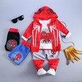 Conjuntos de roupas de Outono Inverno 3 Peça menino Ciranças spiderman Crianças Conjunto de Roupas meninos Casaco Com Capuz Ternos Cair Meninos De Algodão Do Bebê roupas