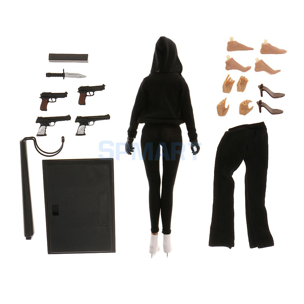 1/6 Scale Female Body Figure with Head Black Jacket Pants Set Extra Hands Feet Accessories fit Kumik Phicen kumik kmf029 1 6 comic version catwoman with two head shape12inch male doll set of end product