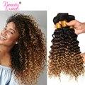 ONDA profunda Ombre armadura brasileña del pelo Bundles T1B/4/27 pelo humano de tres tonos Ombre pelo rubio 1 unid puede comprar 3 o 4 Bundles Remy