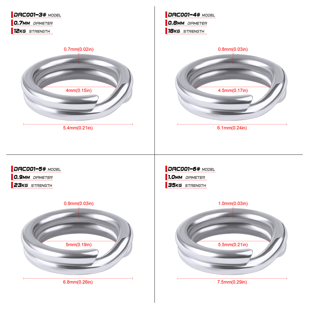 100pcs Fishing Split Rings for Crank Hard Bait Silver Stainless Steel 3#-8# Double Loop Split Open Carp Tool Fishing Accessories 18