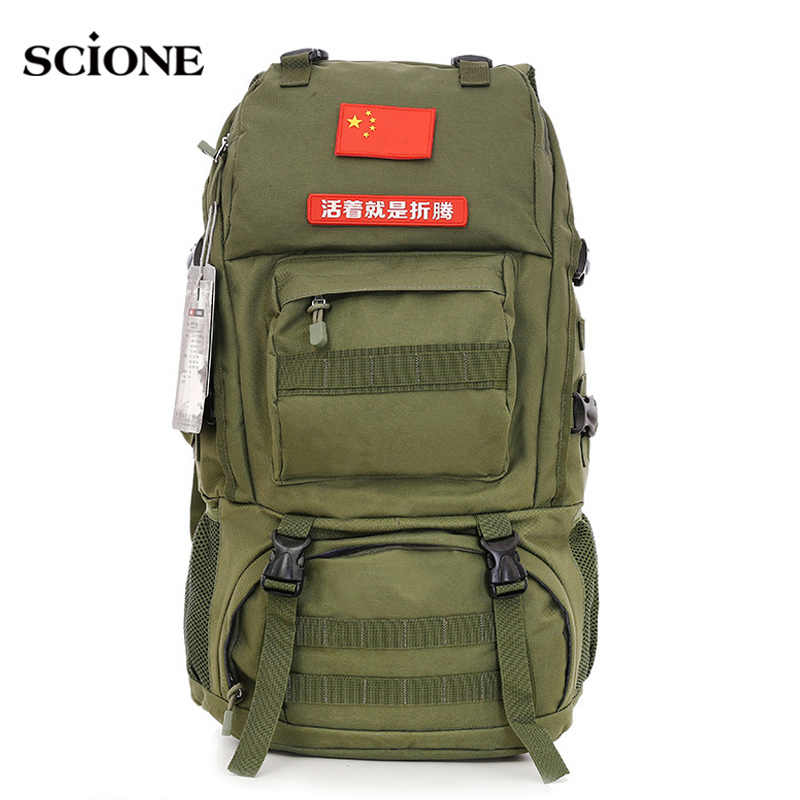 65L Large Capacity Mountain Rucksack Climbing Bag Waterproof Camouflage Molle Backpack for Travel Hiking Camping Fishing XA713WA