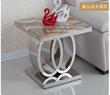 Stainless steel marble toughened glass small square a few tea table