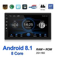 Single 1 DIN Bluetooth Car Stereo GPS Navigation 7 inch TFT Touch Screen Android 8.1 2GB+16GB Head Unit WiFi USB AM FM RDS Radio