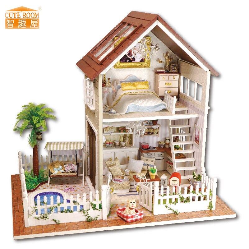 Наместај ДИИ Кућица за лутке Водден Миниатура Долл Хоусес Комплет намјештаја ДИИ Пуззле Склопите Доллхоусе играчке за дјецу поклон А025