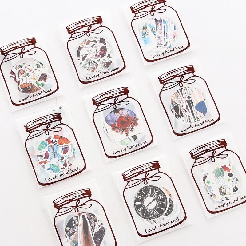 Japanese Style Transparent Bottle PVC Sticker Pack Emoticon Phone Album Seal Diary Decoration DIY Stickers Kids Gift цена