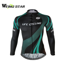 Weimostar Men's Cycling Jersey Long Sleeve Bike Bicycle Shirt Cycling Clothing Top Black S-4XL