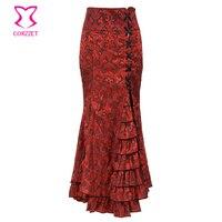Corzzet Vintage Red Brocade Ruffle Slim Hight Waist Gothic Victorian Fishtail Skirt Steampunk Long Mermaid Skirt