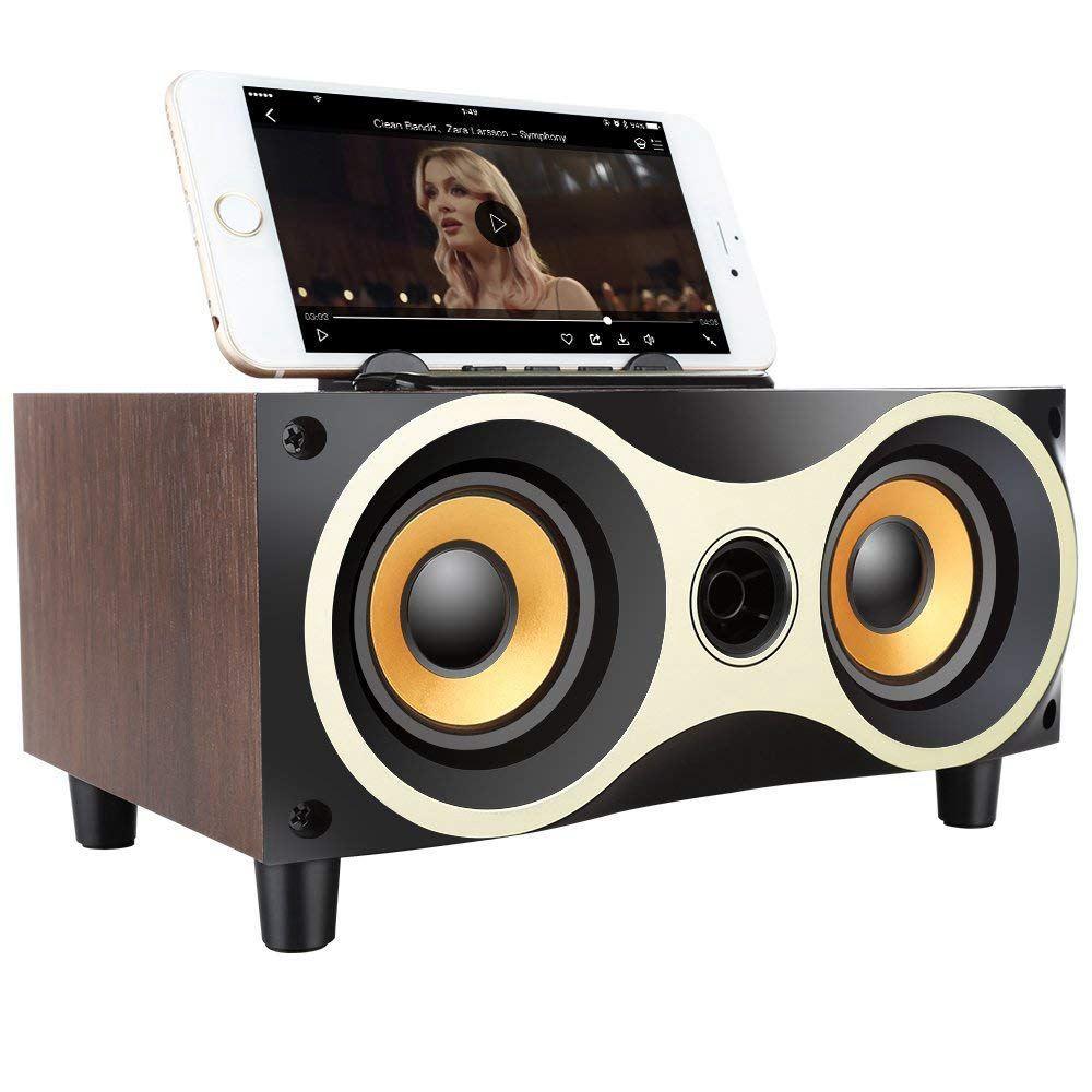 Subwoofer Speaker Mp3-Player Phone-Holder Fm-Radio Wooden Desktop Portable Wireless