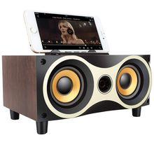 лучшая цена Desktop Portable Wooden Wireless  Bluetooth Speaker Subwoofer Speaker Stero Support Tf Mp3 Player With Fm Radio Phone Holder