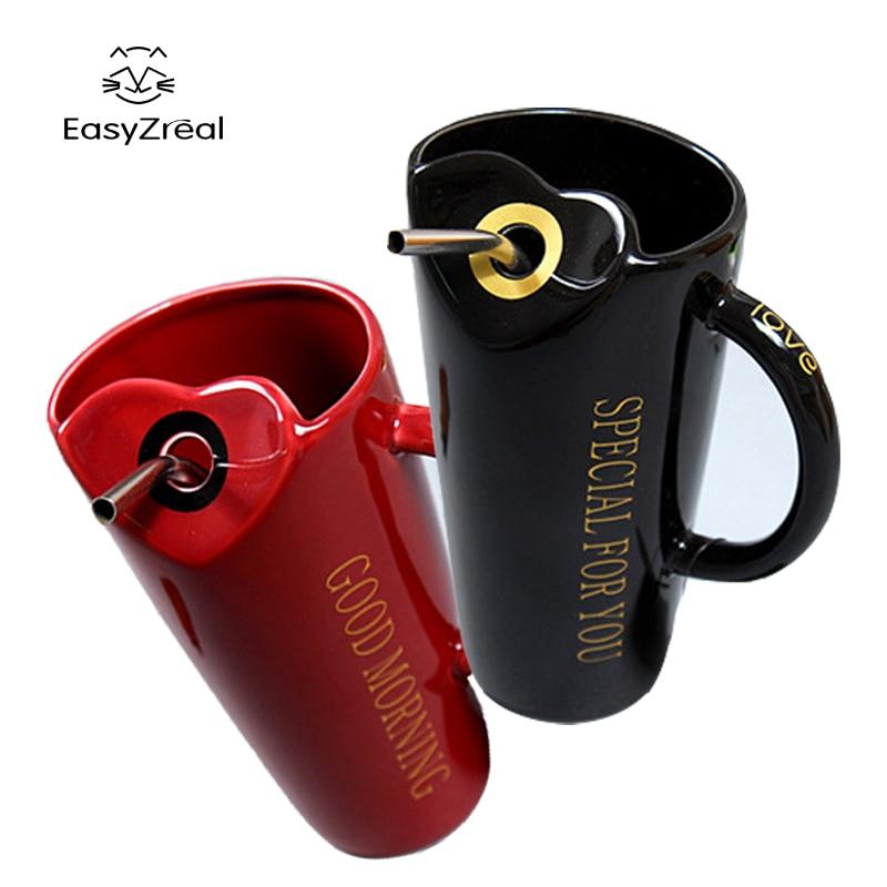 EasyZreal Creative couples ceramic milk breakfast mug office fashion coffee cups Porcelain Tea Cup Ceramic Couple mugs Xmas gift