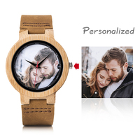 BOBO BIRD Personal Photo Printing Relogio Masculino Customized Logo Wood Watch with Gift Box Drop Shipping