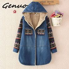 Women Denim Winter Coat 2019Casual Loose Print Patchwork Plus Velvet Thick Outerwear Tops Warm Long Denim Padded Jacket Female initialdream new thick velvet denim jacket outerwear 2019 winter warm women zipper jean jacket coat casual clothing