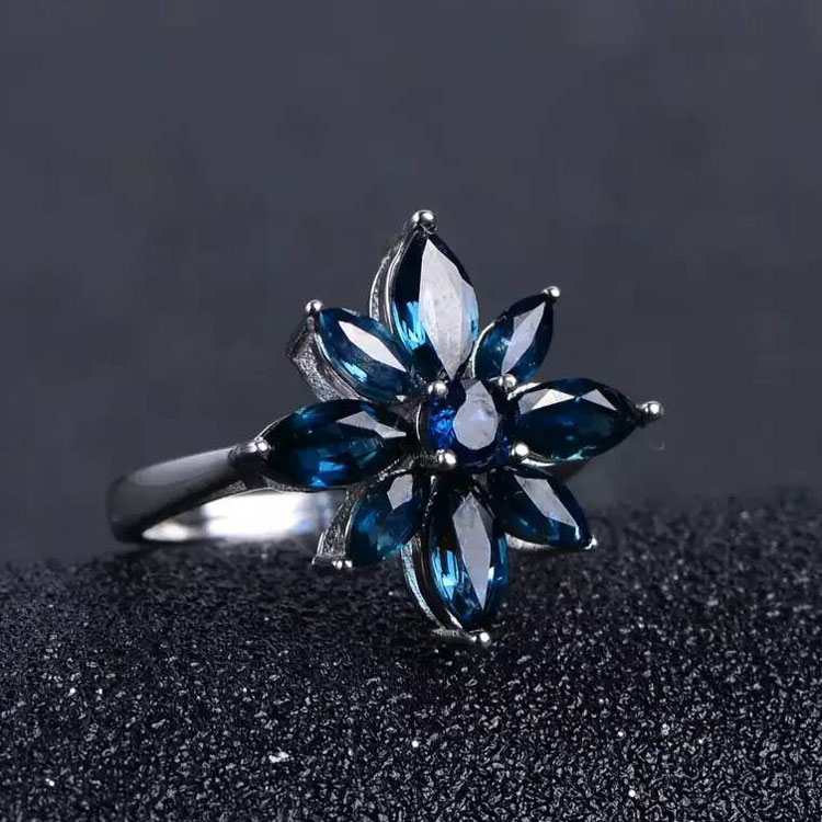 Women Natural Sapphire Stone Ring Genuine Solid Sterling Silver Gems Ladies Jewelry Rings