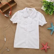 Новинка года; сезон весна-лето; кружевная хлопковая однотонная белая блузка для маленьких девочек белые рубашки с короткими рукавами для девочек