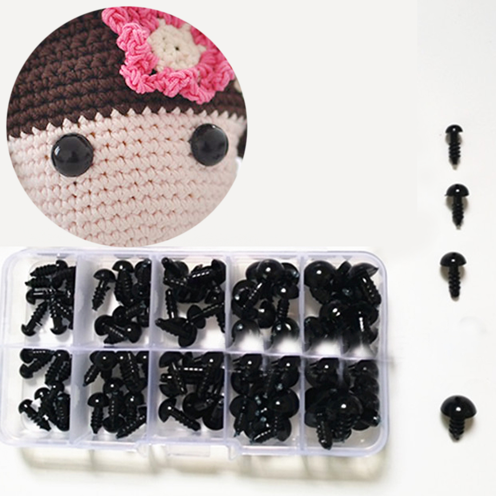 100Pcs 6 To 12 Mm Crafts Safety Eyes Toy Accessories  Plastic DIY Eco-friendly With Washer Teddy Bear Soft Toy Animal Doll Eyes