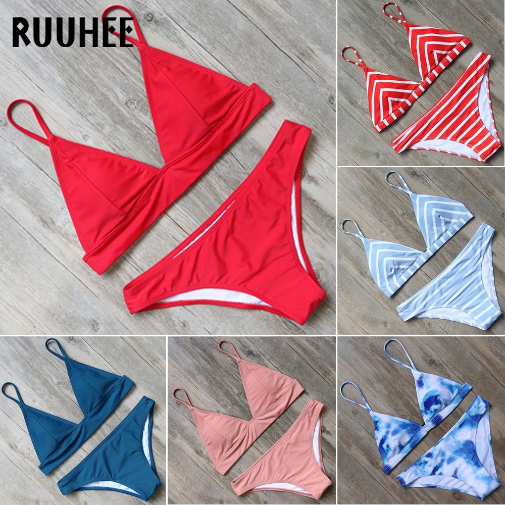 RUUHEE Bikini Swimwear Women Swimsuit 2018 Halter Bikini Set Bathing Suit Brand Beachwear Push Up Maillot De Bain Femme Mid Cut sweet halter colorful layered bikini suit for women