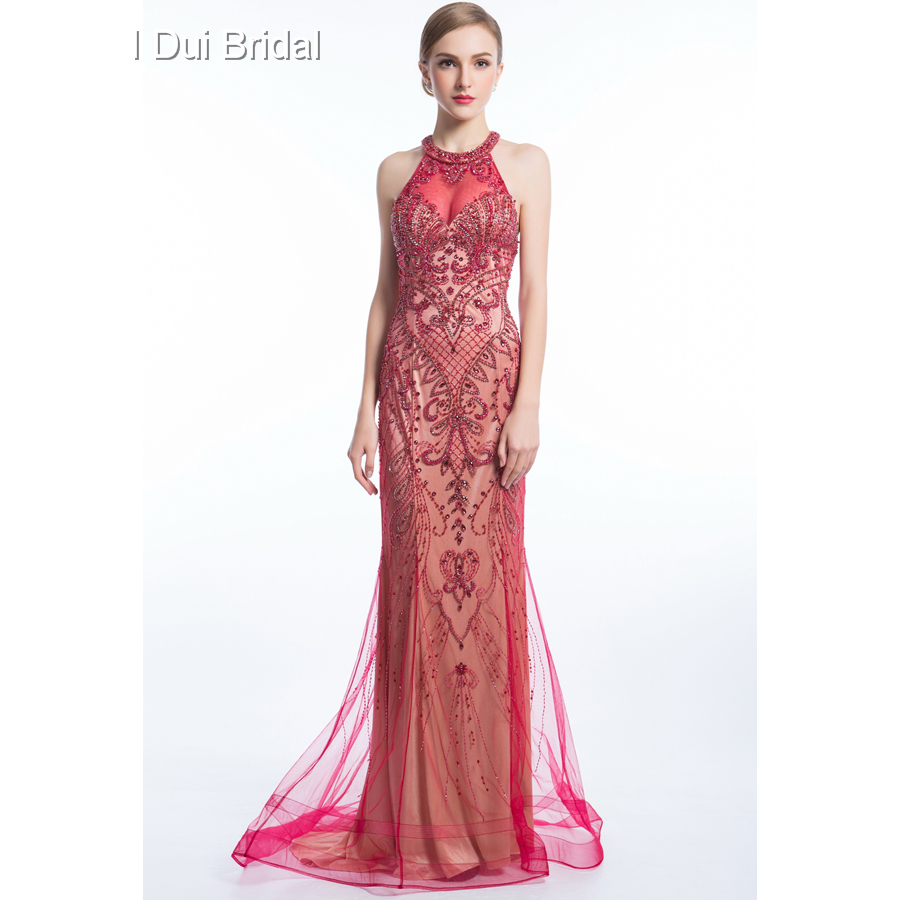 Halter Luxury Beaded   Evening     Dresses   Keyhole Back High Quality Special Occasion   Dresses