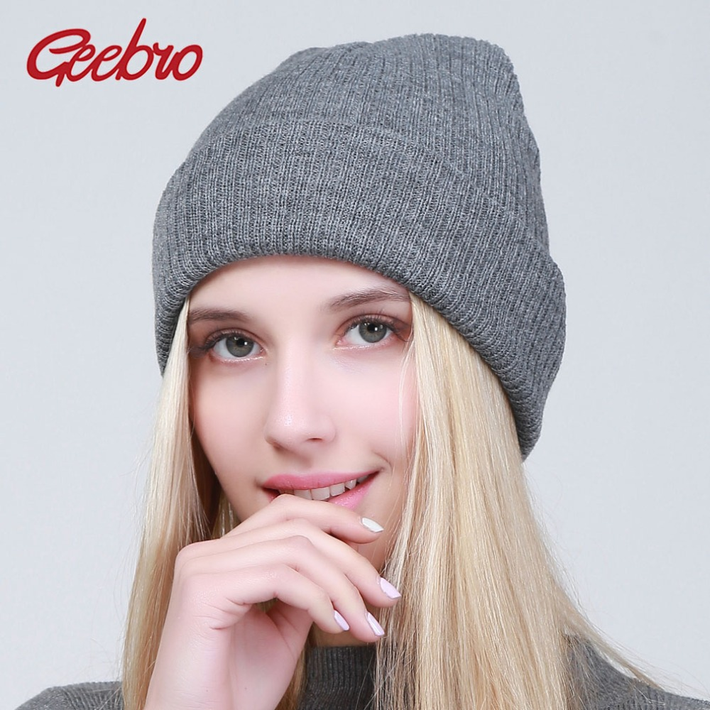 Geebro Winter Knitted Hat Women   Beanie   Hat   Skullies     Beanies   Unisex Hat Knitted Cap Hats For Men   Beanies   Simple Warm Cap Soft Cap