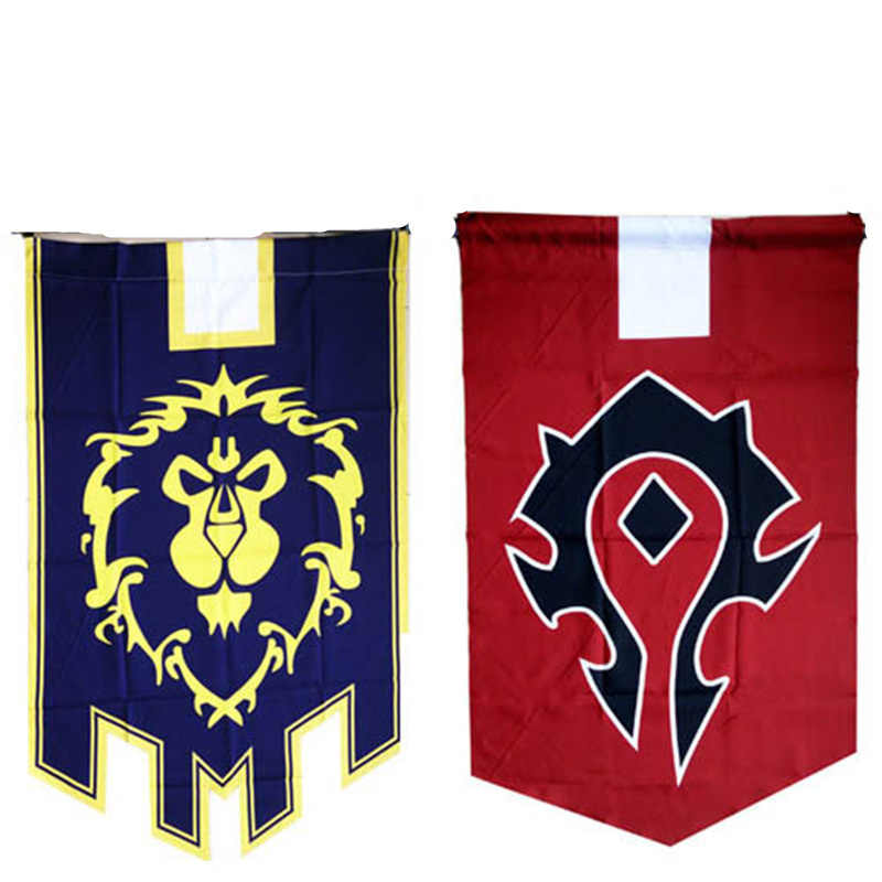 World Of Warcraft Wow Alliance Horde แบนเนอร์ธง Dacron Blue Home Decor คอสเพลย์ Cos Prop