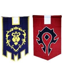 Mundo de warcrafts wow aliança horda bandeira bandeira dacron azul decoração para casa cosplay acessório cos prop