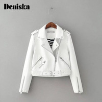 Fashion Mandarin Collar Womens Jackets Black Pink White Leather Clothing Slim Motorcycle Leather Jacket Women Outerwear