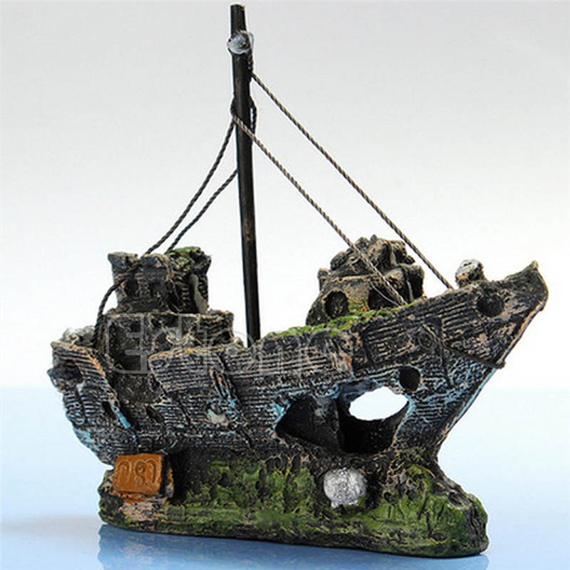 Wreck Sunk Ship Aquarium Ornament Sailing Boat Destroyer Fish Tank Cave Decor Resin Ornament Landscaping Decoration